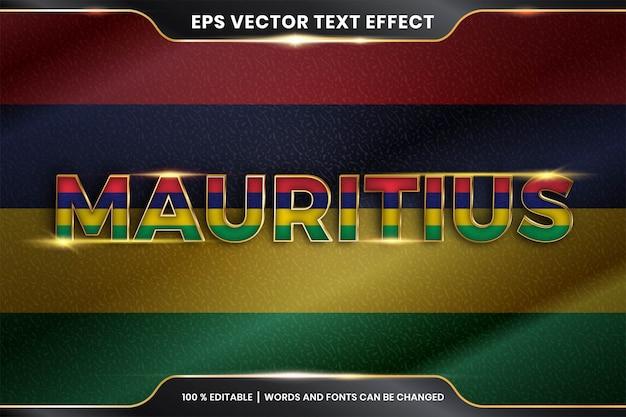 Effetto di testo modificabile - mauritius con la sua bandiera nazionale