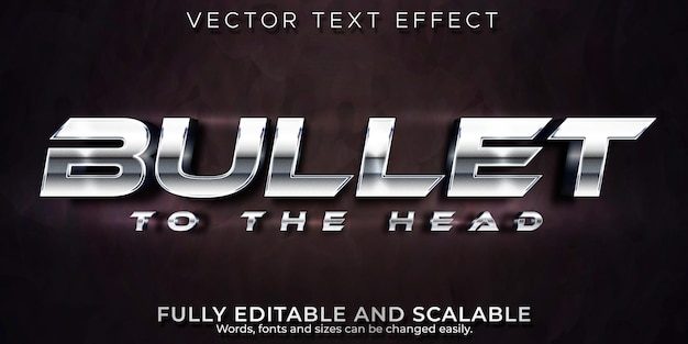 Effetto di testo modificabile, stile di testo proiettile metallico