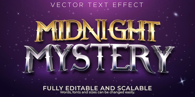 Effetto di testo modificabile, stile di testo misterioso di mezzanotte