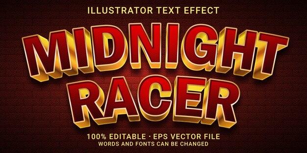 Effetto di testo modificabile in stile midnight racer