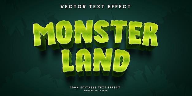 Effetto di testo modificabile nel vettore premium di monster land in stile cartone animato