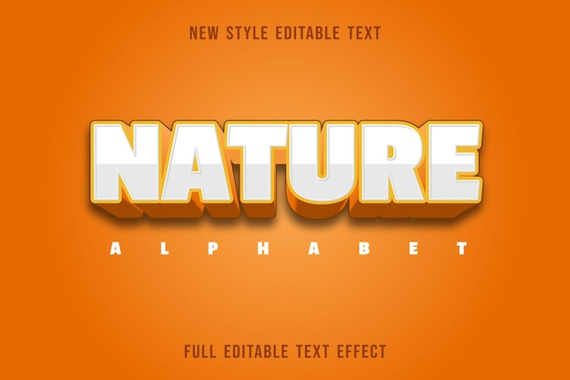 Testo modificabile effetto natura alfabeto colore bianco e arancione