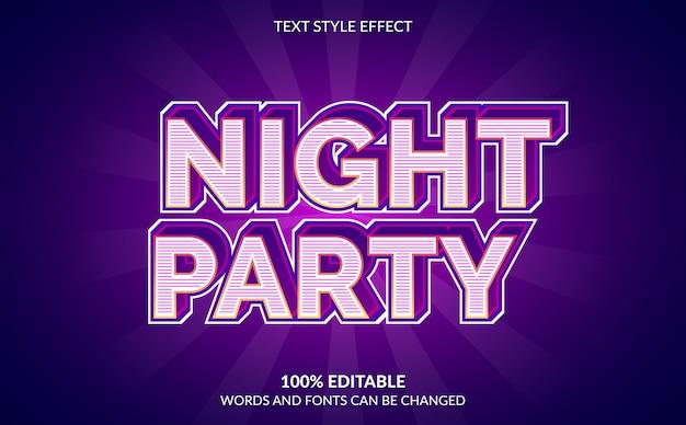 Effetto di testo modificabile, stile di testo festa notturna