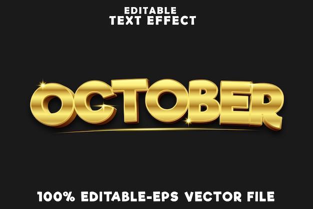 Effetto testo modificabile ottobre con nuovo stile oro di lusso
