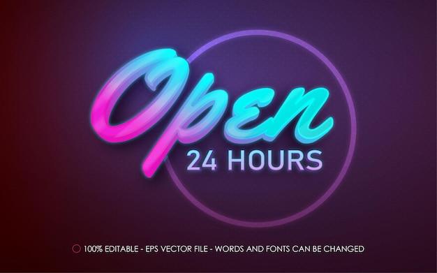 Effetto di testo modificabile, illustrazioni in stile insegna al neon aperte 24 ore su 24