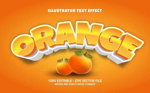 Effetto di testo modificabile, illustrazioni in stile arancione