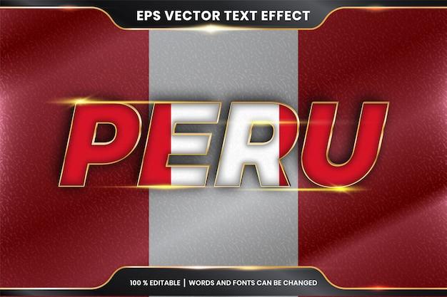 Effetto di testo modificabile - perù con la sua bandiera nazionale
