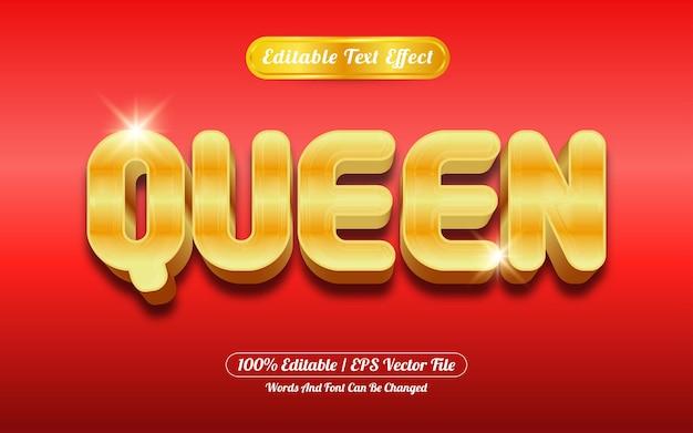 Effetto di testo modificabile stile regina oro
