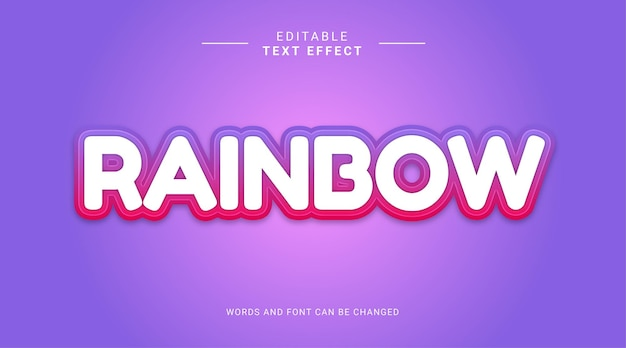 Effetto testo modificabile in stile arcobaleno in grassetto