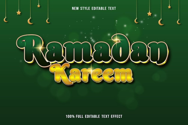 Testo modificabile effetto ramadan kareem colore verde e giallo