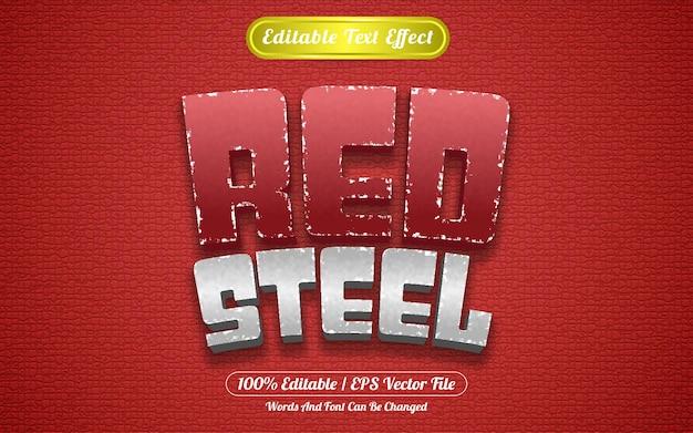 Stile del modello in acciaio rosso effetto testo modificabile