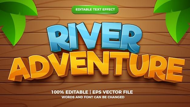 Effetto testo modificabile - modello 3d in stile cartone animato avventura fluviale