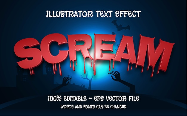 Effetto di testo modificabile, illustrazioni in stile scream