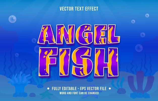Effetto di testo modificabile stile tema del modello di pesce oceano mare per modello di supporti digitali e di stampa