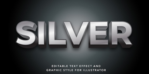 Effetto di testo modificabile per lo stile del testo in argento