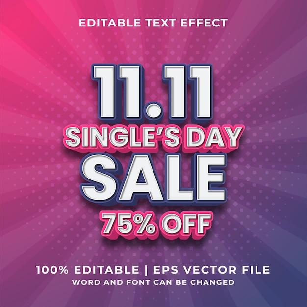 Effetto di testo modificabile - vettore premium in stile modello di vendita per il giorno dei single