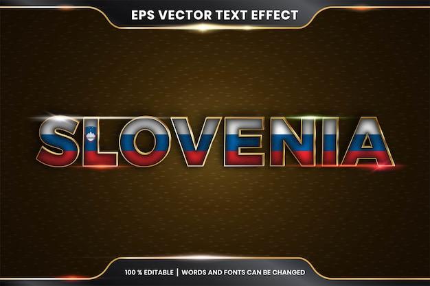 Effetto di testo modificabile - slovenia con la sua bandiera nazionale