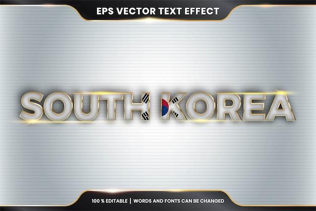 Effetto di testo modificabile - corea del sud con la sua bandiera nazionale