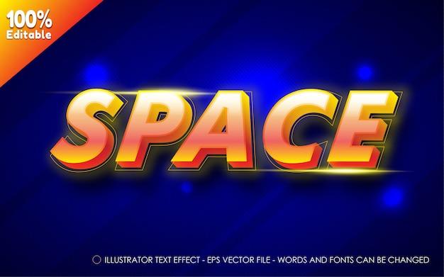 Effetto di testo modificabile, illustrazioni in stile spaziale