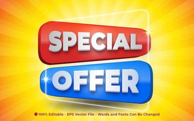 Effetto di testo modificabile, illustrazioni in stile 3d segno di offerta speciale