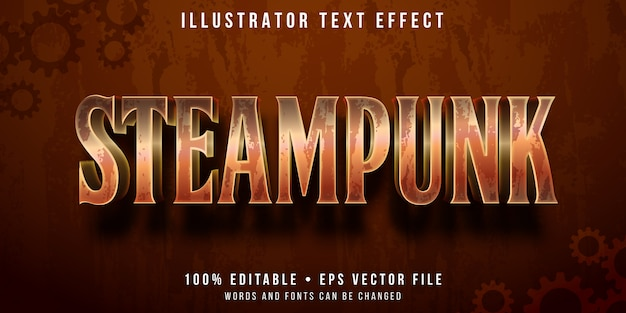 Effetto di testo modificabile - stile metal steampunk