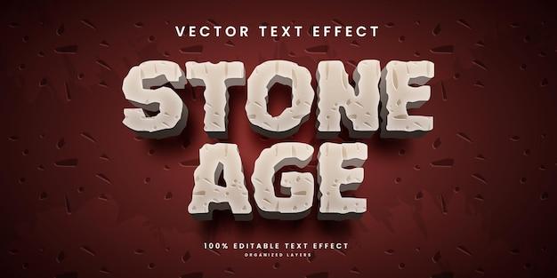 Effetto di testo modificabile in stile età della pietra vettore premium