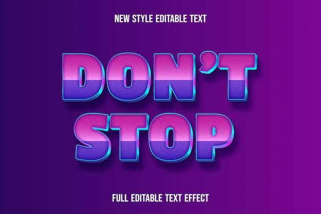 L'effetto di testo modificabile non interrompe il colore rosa e viola