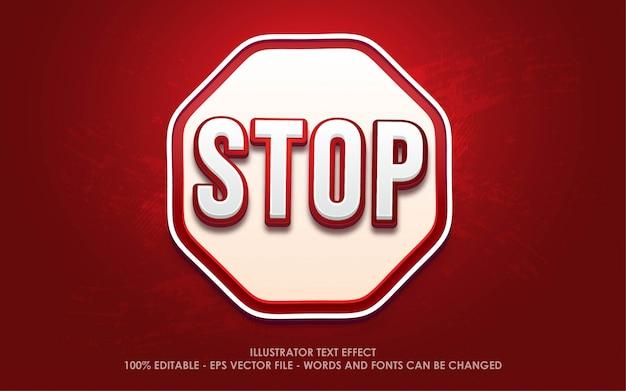 Effetto di testo modificabile, illustrazioni in stile stop icon