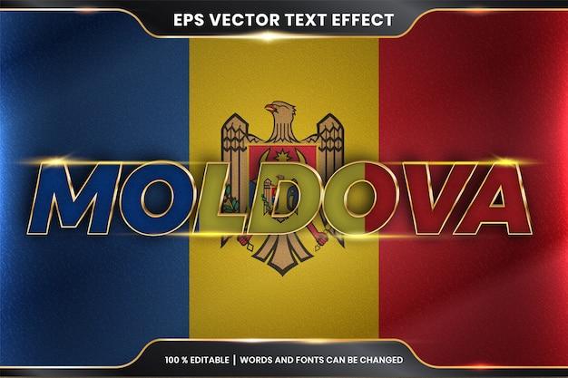Stile effetto testo modificabile - moldavia con la sua bandiera nazionale