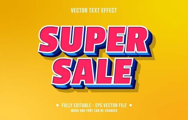 Stile di sconto super vendita effetto testo modificabile