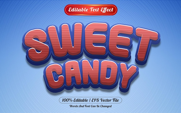 Effetto testo modificabile in stile modello di caramelle dolci