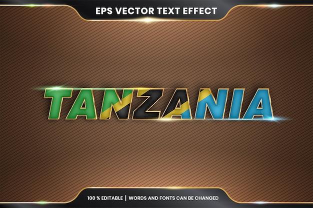 Effetto di testo modificabile, parola tanzania con bandiera nazionale