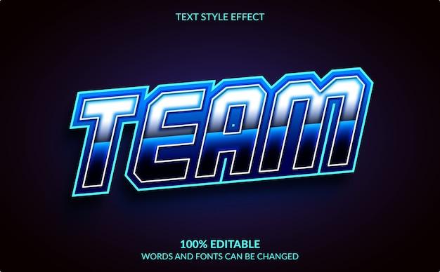 Effetto di testo modificabile, stile di testo della squadra Vettore Premium