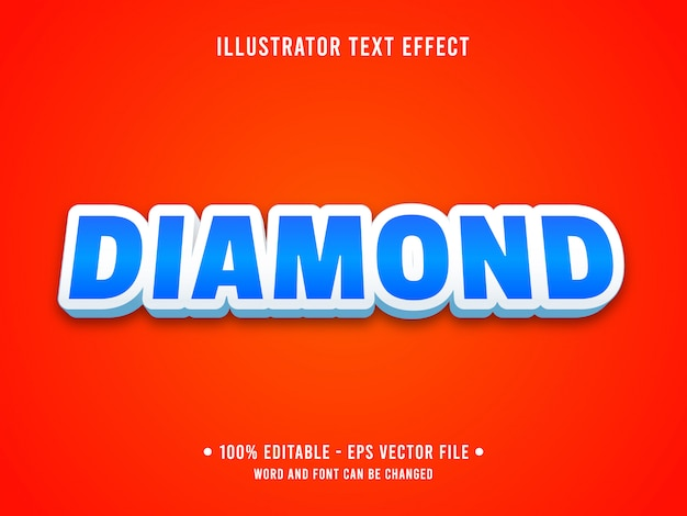 Modello di effetto di testo modificabile in stile diamante blu casinò