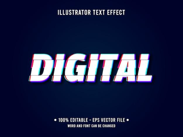 Modello di effetto di testo modificabile glitch stile digitale Vettore Premium