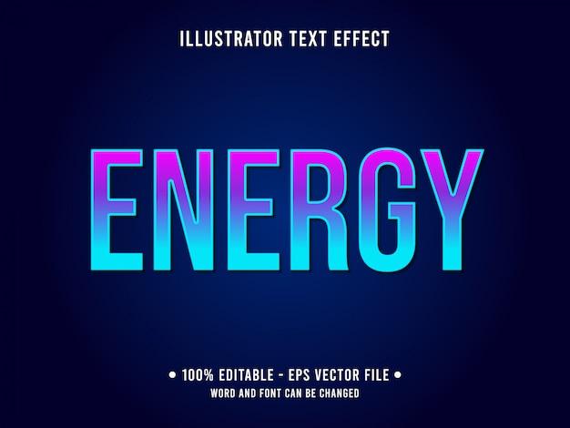 Modello di effetto di testo modificabile gradiente blu stile di energia