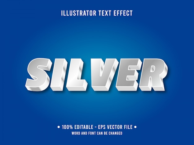 Modello di effetto testo modificabile stile argento metallizzato