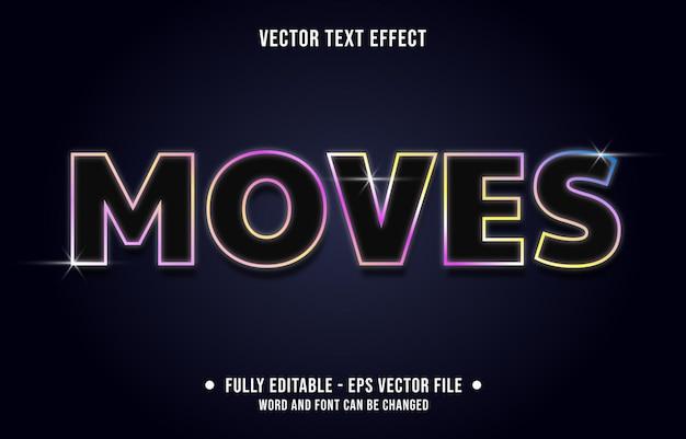 Modello di effetto di testo modificabile stile neon si muove