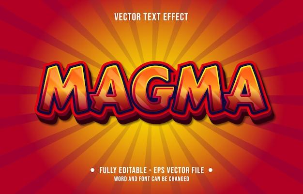 Modello di effetto di testo modificabile stile moderno di colore rosso magma sfumato