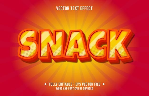Modelli di effetti di testo modificabili snack in stile moderno con sfumature di colore arancione e rosso
