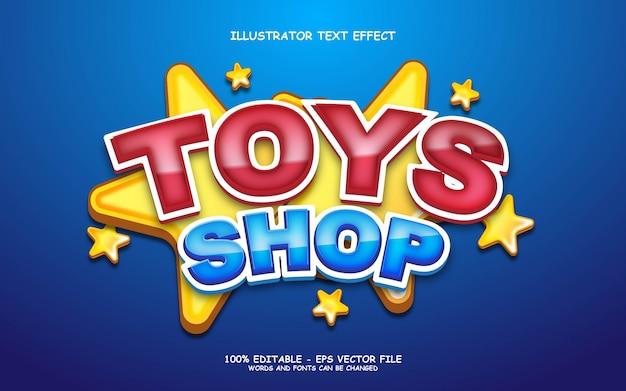 Effetto di testo modificabile, illustrazioni in stile negozio di giocattoli