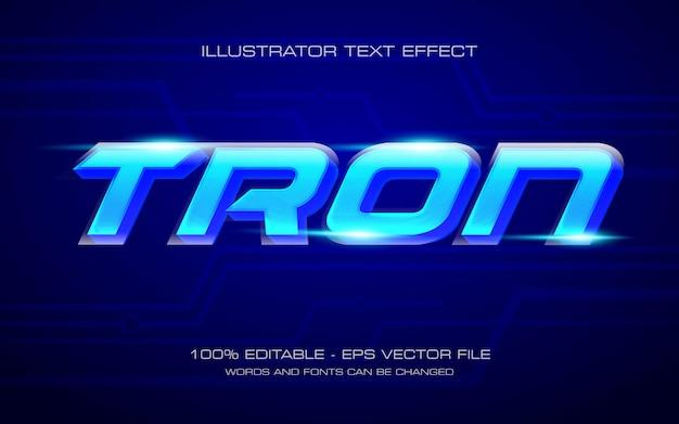 Effetto di testo modificabile, illustrazioni in stile neon tron