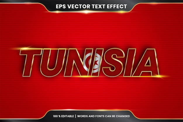 Effetto di testo modificabile - tunisia con la sua bandiera nazionale