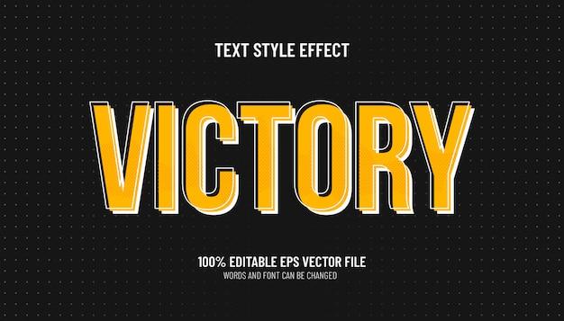 Vittoria stile effetto testo modificabile esport
