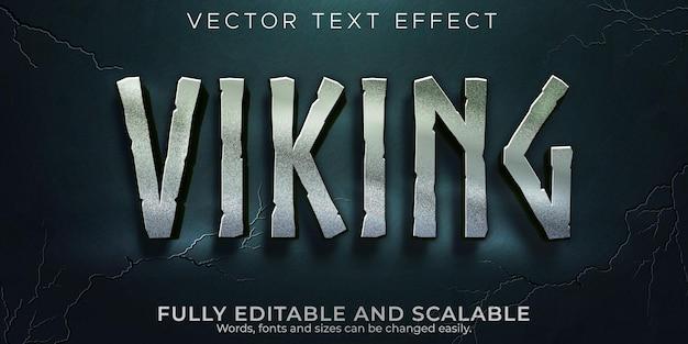 Effetto di testo modificabile, stile di testo nordico vichinghi Vettore Premium