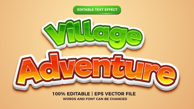 Effetto testo modificabile - modello 3d in stile fumetto fumetto avventura villaggio