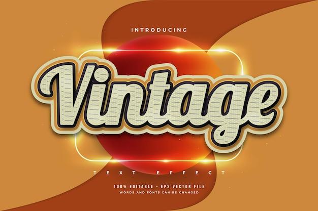 Effetto di testo modificabile in stile vintage con effetto texture Vettore Premium
