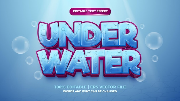 Effetto testo modificabile - modello 3d in stile cartone animato sott'acqua sullo sfondo del mare profondo