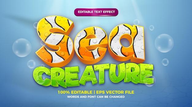 Effetto testo modificabile - modello 3d in stile cartone animato carino sott'acqua sullo sfondo del mare profondo