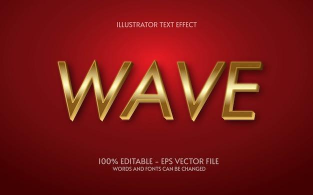 Effetto di testo modificabile, illustrazioni in stile wave gold